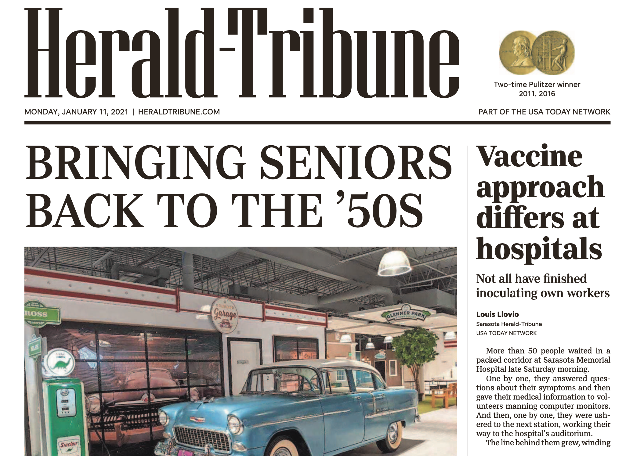 Front-page story in Herald-Tribune