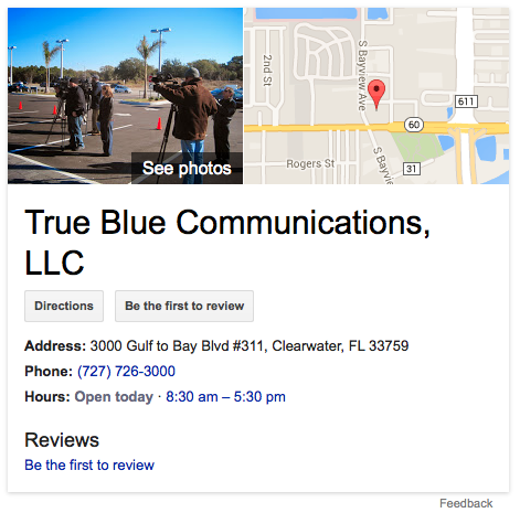 True Blue Communications' Google Knowledge Graph